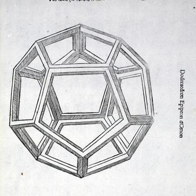 Dodecaedron Planum Vacuum, Illustration from 'Divina Proportione' by Luca Pacioli (C.1445-1517),…