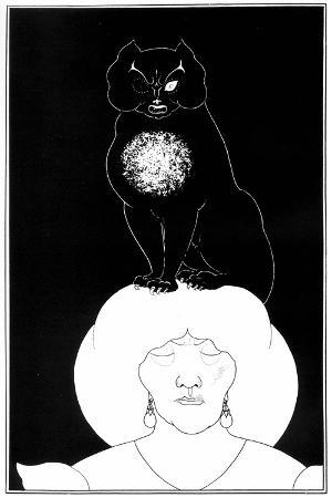 """Illustration from """"The Black Cat"""", a Short Story by Edgar Allan Poe, 1895"""