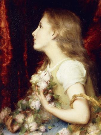 A Young Girl with a Basket of Flowers