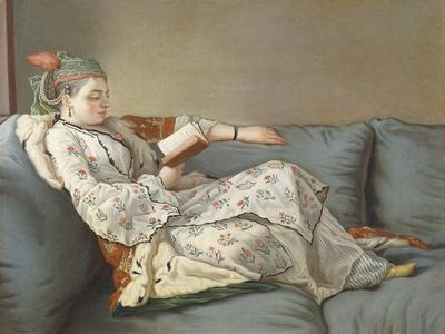 La Sultane Lisant', a Lady in Turkish Costume Reading on a Divan
