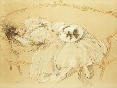 Young Woman on the Sofa; Jeune Femme Au Divan