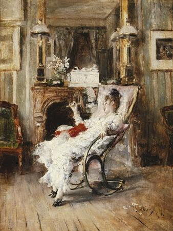 An Elegant Lady Holding a Fan, 1874