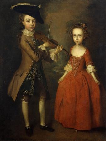The Archbold Children: a Group Portrait of a Little Boy, Full Length Wearing a Beige Coat, Dark…