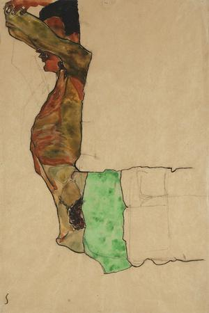 Reclining Male Nude with Green Cloth (Self-Portrait)