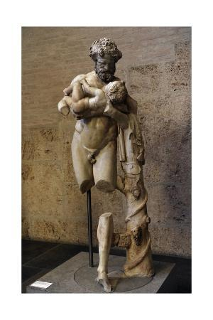 Silenus with the Infant Dionysus. Roman Statue