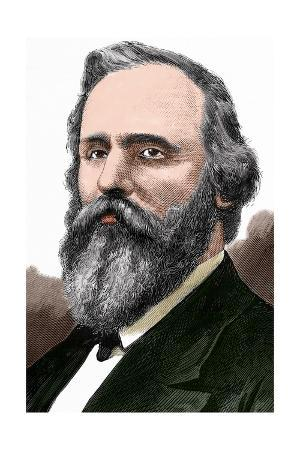 Rutherford B. Hayes (1822-1893). Engraving. Colored