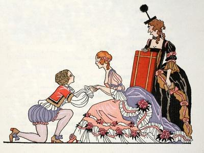 Cinderella with Prince Charming, Her Stepmother Looks on