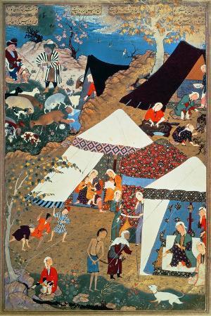 Or 2265 Folio 1576 Camp Scene by Mir Sayyid'Ali, from the 'Khamsa' of Nizami, Tabriz, 1539-43