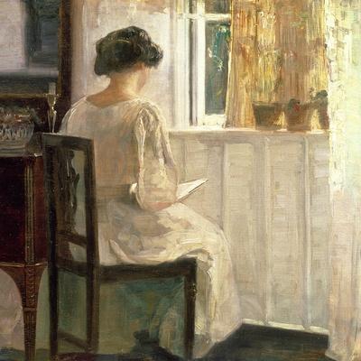Girl Reading in a Sunlit Room