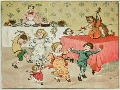 The Cat and the Fiddle and the Children's Party Illustration from Hey Diddle Diddle