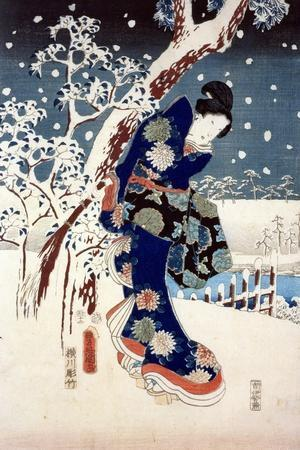 Snow Scene in the Garden of a Daimyo, Part of Triptych