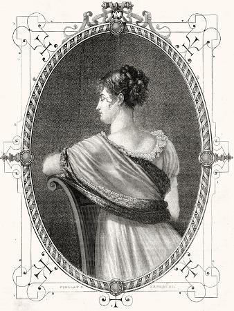Portrait of Madame Recamier (1777-1849) Engraved by Antoine Auguste Ernest Hebert (1817-1908)