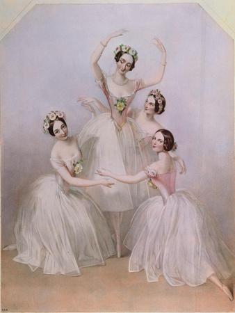 The 'Pas De Quatre': Carlotta Grisi (1819-99) Marie Taglioni (1804-84) Lucile Grahn (1819-1907)…