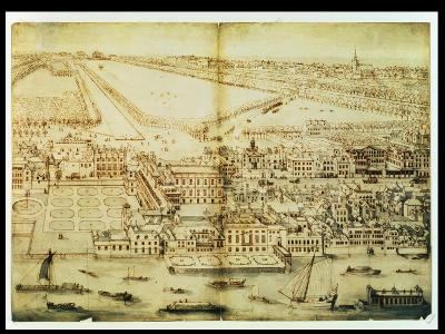A Bird's Eye View of Whitehall Palace, C.1695