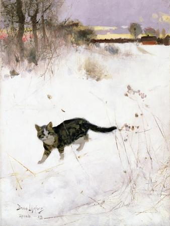 Cat Stalking over Snow, 1884