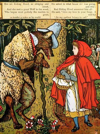 'Little Red Riding Hood', the Wolf Accosting Her in the Forest