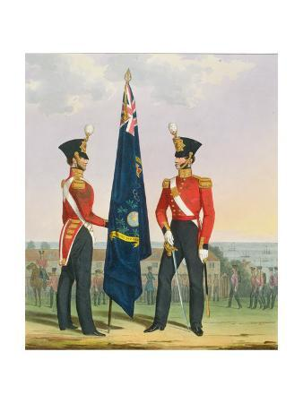 Royal Marines (Subalterns) 2nd Lieutenant Carrying Divisional Colours, Plate 15 from 'Costume of…