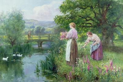 Girls Collecting Flowers