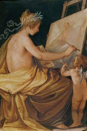 Painting, Assisted by a Cherub, Depicting Fame