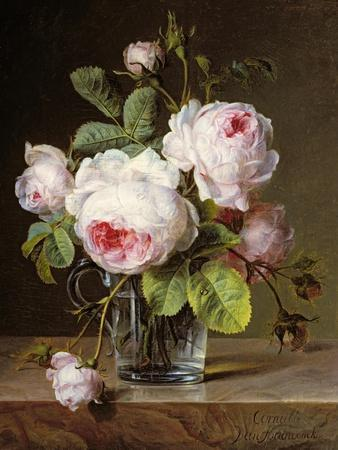 Roses in a Glass Vase on a Ledge