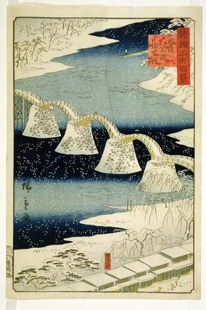 Kintai Bridge in the Snow, from the Series 'Shokoku Meisho Hyakkei'