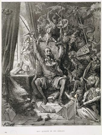 Don Quixote in His Library, Engraved by Heliodore Joseph Pisan (1822-90) C.1868