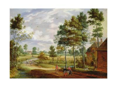 Figures Outside a Cottage in a Country Landscape