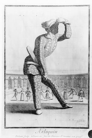 Harlequin, Engraved by Juan Dolivar (1641-92)