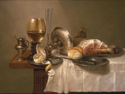 Still Life of a Roemer, an Overturned Silver Tazza, a Flute and a Ham, 1643