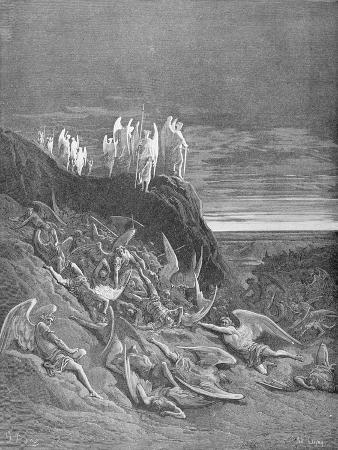 The War in Heaven, from Book VI of 'Paradise Lost' by John Milton (1608-74) Engraved by A. Ligny,…