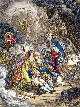 The Death of Admiral Lord Nelson at the Moment of Victory! Published by Hannah Humphrey in 1805