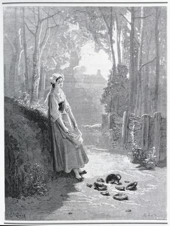 Illustration for the Milkmaid and the Milk Can, from 'Fables' by Jean De La Fontaine (1621-95)