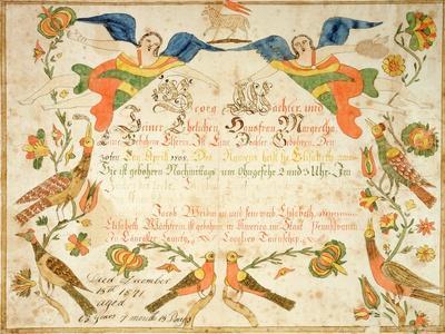 Fraktur for the Birth and Baptismal Certificate for Elizabeth Wachter (1808-71) 1808