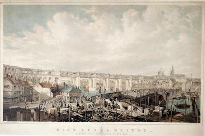 High Level Bridge, Newcastle Upon Tyne, Engraved by George Hawkins (1819-52)