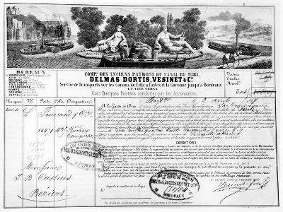 Receipt Issued by the Compagnie Du Canal Du Midi for the Transport of Goods from Bordeaux to…