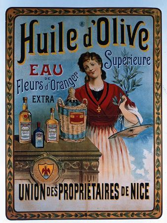 Poster Advertising Olive Oil Made in Nice, France