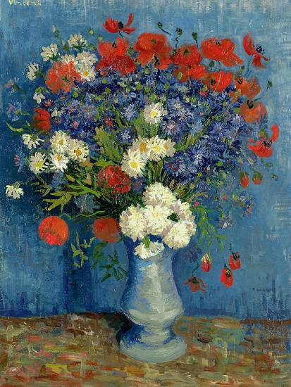 Still Life Vase With Cornflowers And Poppies 1887 Giclee Print By