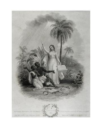 Britannia Giving Freedom to Poor African Slaves, Engraved by J. Bridgens, 1838
