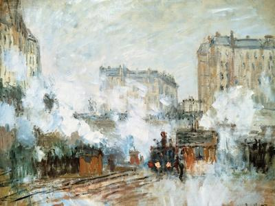 Exterior of the Gare Saint-Lazare, Arrival of a Train, 1877