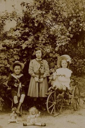 Children with Dolls, Rocking Horse and Tricycle, C.1890