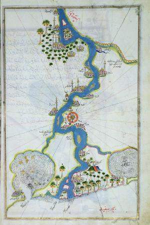 Ms W.658 Fol.304V Map of the Nile from the Kitab-I Bahriye