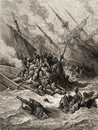 Battle of Lepanto in 1571, Illustration from 'Bibliotheque Des Croisades' by J-F. Michaud, 1877
