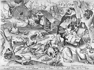 Sloth, from the Seven Deadly Sins, Engraved by Pieter Ven Der Heyden, 1558