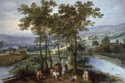 Spring, a Landscape with Elegant Company on a Tree-Lined Road