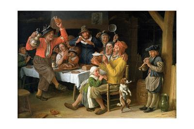 An Interior with Peasants Singing and Dancing, 1681