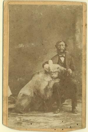 James Capen 'Grizzly' Adams (1807-60) Photographed with a Grizzly Bear