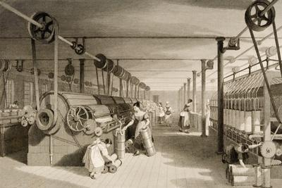 Carding, Drawing and Roving, Cotton Factory Floor, Engraved by James Tingle (Fl.1830-60) C.1830