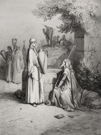 Eliezer and Rebekah, Genesis 24:15-21, Illustration from Dore's 'The Holy Bible', Engraved by…