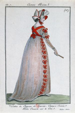 Fashion Design for a Parisian Lady's Dress, Circa 1799