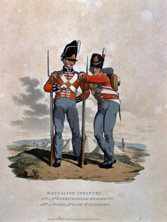 Battalion Infantry 6th Regiment and 23rd (Or Royal Welsh) Fusiliers, from 'Costumes of the Army…